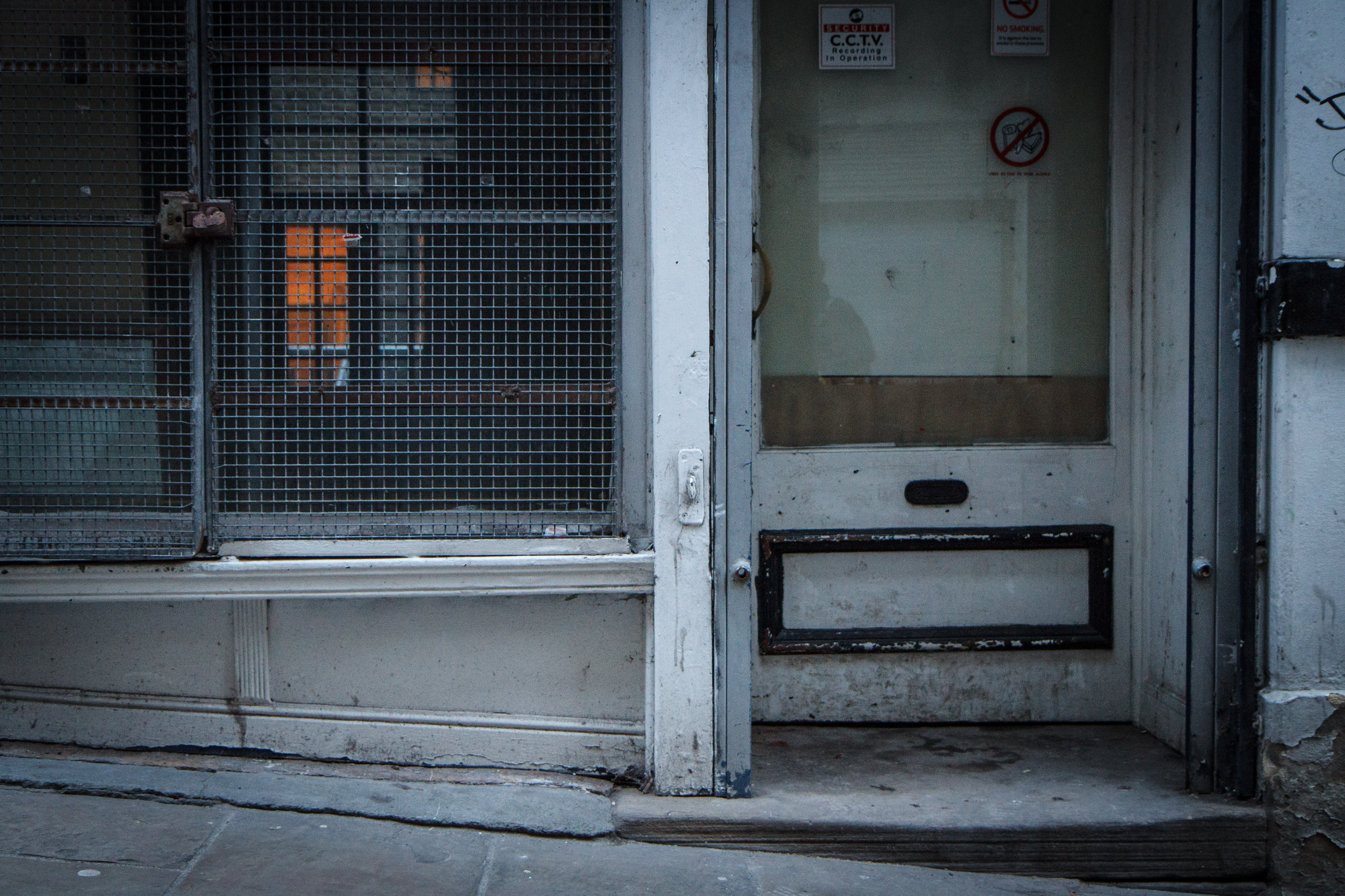 A vacant doorway where a homeless young person might sleep.